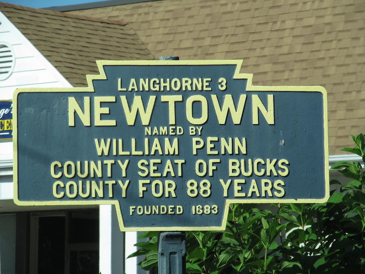 HIstorical Marker in Newtown, PA